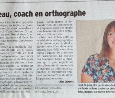 article de presse du Dauphiné Libéré présentant Nelly ROUSSEAU et Défi Orthographique